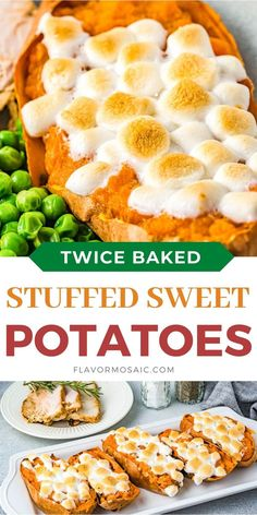 Twice Baked Stuffed Sweet Potatoes are individual sweet potatoes, stuffed with a creamy, pumpkin pie spiced sweet potato filling, and topped with gooey marshmallows that are roasted until they are perfectly golden brown. #TwiceBakedSweetPotatoes #StuffedSweetPotatoes #SweetPotatoesWithMarshmallows Traditional Thanksgiving Recipes, Thanksgiving Dinner Recipes, Vegetarian Thanksgiving, Thanksgiving Side Dishes, Twice Baked Sweet Potatoes, Easy Mashed Potatoes, Stuffed Pepper Soup, Bell Pepper Soup, Homemade Coleslaw