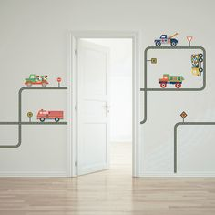 Terrific Trucks and Gray Road Wall Decals Curved and Straight