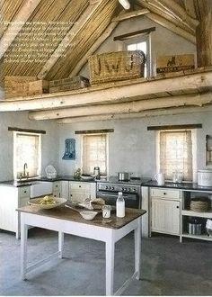 recreate with cinder-block divides/standard cabinets on concrete slab