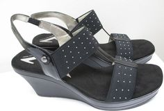 FOR SALE...click on the photo to visit our Ebay store...  Anne Klein Sport 9 1/2 M Black Platform Open Peep Toe Wedge Silver Metal Studs  #AnneKleinSport #PlatformsWedges #shoes #shopping #fashion #flatform #platform #studs