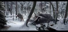 Landscape. Winter. Downed Chopper. Wounded Wanderer. forest Abandoned 'Snowy forest' by LMorse