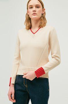 컬러 블록 브이넥 니트 스웨터