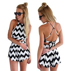 Great black and white rumper for the summer.. Could be worn to the park, moviea, beach etc.