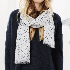 Heart Print Scarf - Natural | The White Company
