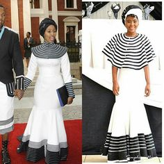 Umbhaco & Shweshwe Inspired Dress For Heritage Day Xhosa Attire, African Attire, African Wear, African Women, African Dress, African Style, Traditional Wedding Attire, African Traditional Wedding, African Traditional Dresses
