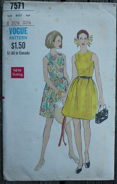 Vogue 7571 1960s 60s Mod Dress Sleeveless by EleanorMeriwether