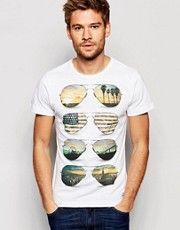 Camiseta ajustada en blanco con estampado de gafas con imágenes americanas de Blend