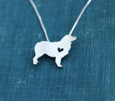 Australian Shepherd necklace sterling silver by JustPlainSimple