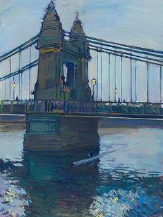 "Sculling at Dusk, Hammersmith Bridge - Luke Martineau British b.1970- Oil on Board 24"" x 18"""