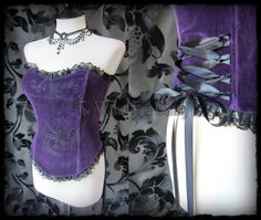 Romantic Deep Purple Velvet Black Lace Corset 10 12 Vampire Gothic Burlesque | THE WILTED ROSE GARDEN on eBay // UK Based // Worldwide Shipping Available
