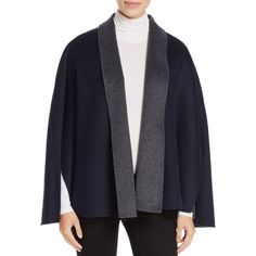 T Tahari Gabby Reversible Cape Coat (£118) ❤ liked on Polyvore featuring outerwear, coats, charcoal melange, t tahari, wool blend coat, reversible cape, t tahari coat and double faced coat