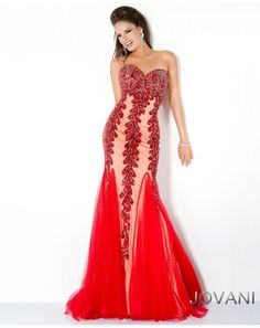 New Jovani Red Sweetheart Embellished Trumpet Prom Evening Dress Sz 8 NWT #Jovani