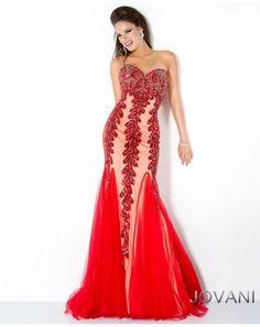 New Jovani Red Sweetheart Embellished Trumpet Prom Evening Dress Sz 8 NWT #Jovani