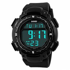 SKMEI Unisex Men Sports Outdoor Digital Watch PU Rubber Strap Dual Time Display Alarm Night Light Compass  BOX -- Find out more about the great product at the image link.Note:It is affiliate link to Amazon. #MensWatch
