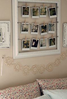 Such a cute, simple and inexpensive idea for the home - polaroid pictures inside a wooden frame.