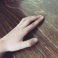 """smalltattoosco: """"Ruler tattoo on the left finger. Tattoo artist: Hongdam """""""