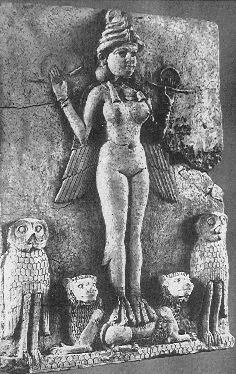 Ishtar @John Searles Burridge. Famous relief from the Old Babylonian period (now in theBritish Museum) called the 'Burney relief' or 'Queen of Night relief'. The depicted figure could be an aspect of the goddess Ishtar, Mesopotamian goddess of sexual love and war. However her bird-feet and accompanying owls have suggested to some a connection with Lilitu (called Lilith in the Bible), though seemingly not the usual demonic Lilitu. 19 C. BC - 18th C. BC