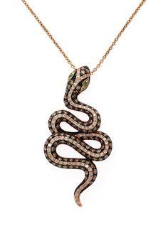 Nature Critters 14K Rose Gold Diamond and Tsavorite Snake Pendant, 1.41 TCW