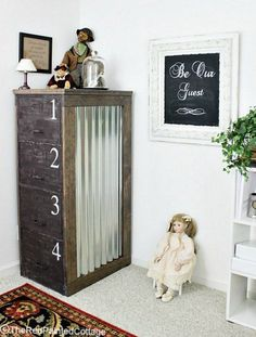 Detailed tutorial on how to turn a file cabinet into extraordinary using paint, wood and corrugated metal. Start with any metal file cabinet. This is the befor… Diy File Cabinet, Filing Cabinet, Repurposed Furniture, Diy Furniture, Office Furniture, Refinished Furniture, Vintage Industrial, Small Bedroom Organization, Organization Ideas