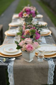 burlap runner + vintage china + pink roses...would LOVE this with a dark purple accent!
