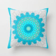 Ocean Turquoise Kaleidoscope Throw Pillow by  RokinRonda - $20.00