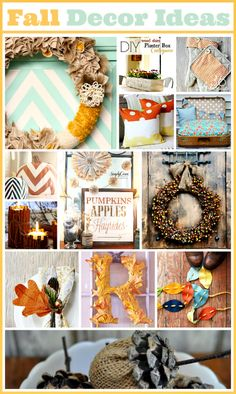DIY:: Fall Decor Ideas ~  >Fall Wreath  >Fall Garland  >Cinnamon Stick Candles >Corn Hash Wreath  >Fall Leaf Initial Wreath >DIY Burlap Acorns  & MORE!  Project Links @: http://www.the36thavenue.com/2013/09/fall-decor-ideas.html