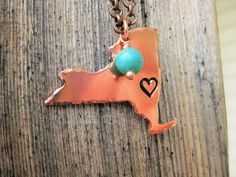 Copper New York Necklace With Heart Stamped Over Albany~Choose your Favorite City