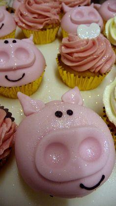 Cute pig cupcakes. @Loganne Kirt