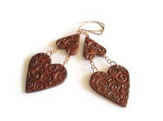 Heart polymer clay earrings in copper #jewelry @JP with Love