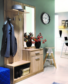 Nepo Hall Stand Entrance Hall Set 3 Hooks, Shelf, Mirrored Front in Sonoma Oak or White Effect Cloakroom Storage, Hallway Storage, Entrance Hall Furniture, Hall Stand, Sonoma Oak, Modern Hallway, Mirror With Shelf, Storage Sets, Furniture Sets