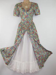 LAURA ASHLEY Vintage Fragrant Summer Meadow Day / Tea Dress, UK 10