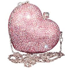 Hearts: Anthony David pink glitter evening bag, with Swarovski crystals. Pink Love, Pretty In Pink, Louis Vuitton Taschen, Cristal Rose, I Believe In Pink, Everything Pink, Judith Leiber, Clutch Wallet, Purses And Handbags