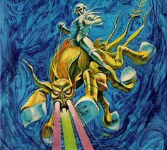 From the cover of Worlds of If, March Art by Jack Gaughan. Psychedelic Space, 70s Sci Fi Art, Japanese Monster, Fantastic Art, Awesome Art, Types Of Art, Type Art, Sci Fi Books, Environment Concept Art