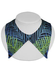 Cleo Ferin Mercury | Detachable Collar | Blue Palm Leaves