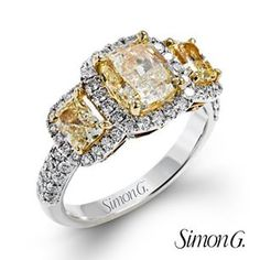 All the good things come in threes, especially when it comes to fancy yellow diamonds! #SimonGJewelry #ArthursJewelers #Minneapolis #StPaul #Diamonds #EngagementRing