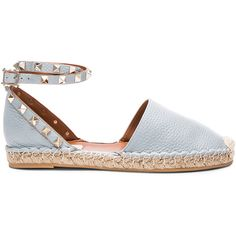 Valentino Rockstud Double Flat Leather Espadrilles ($895) ❤ liked on Polyvore featuring shoes, sandals, valentino shoes, valentino sandals, metallic platform sandals, wrap sandals and flat sandals