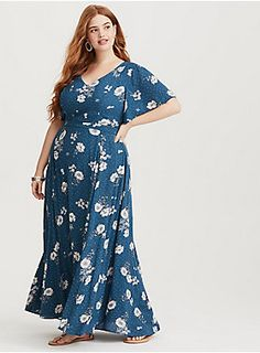 f634855f0a5 A fitted waist adds a little structure to this breezy gauze maxi dress  complete with flutter. Torrid