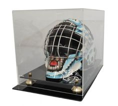 Caseworks International NHL Goalie Mask Display Case with Gold Risers NHL Team: Columbus Blue Jackets, UV Protection: No Nhl Logos, Goalie Mask, Columbus Blue Jackets, Florida Panthers, Hockey Goalie, Carolina Hurricanes, New Jersey Devils, Buffalo Sabres, Anaheim Ducks
