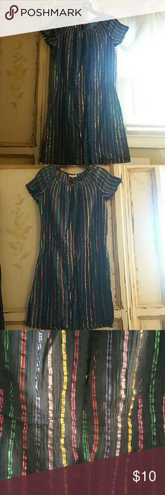 Madras by A.P.C swimsuit coverup size medium Navy with eridesnt strips beautiful light fabric swimsuit cover up : light elastic on the waist this cover is beautiful especially in the sun light madras Swim Coverups
