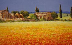 Обои картинки фото картина, пейзаж, италия, тоскана, дом