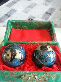 Chinese Panda Baoding Balls, Blue in aaALLHouseSale_worldwideitems' Garage Sale in Kenosha , WI for $15. Baoding balls with chime.  they are blue with panda and golden accents; in excellent condition, the box is green and worn.