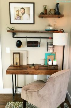 DIY Custom Industrial Wooden Desk - 15 DIY Corner Desk Ideas with Step by Step Plans - DIY & Crafts Best diy pipe desk design ideas. Furniture, Industrial Wooden Desk, Diy Corner Desk, Room, Home Office, Desktop Bookshelf, Home Decor, Industrial Style Desk, Home Diy