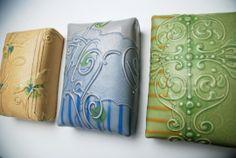 Kristen Kieffer pillow tiles, Honeycomb, Periwinkle, and Spring green