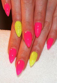 neon pink & yellow