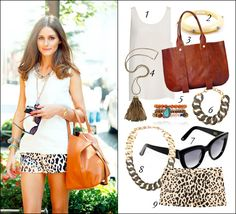 We love Olivia Palermo's leopard shorts look!