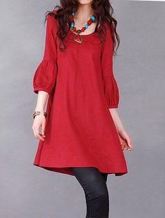 Red/ Green linen dress short sleeve dress cotton blouse linen shirt casual loose blouse cotton shirt summer dress cotton top plus size dress Simple Dresses, Casual Dresses, Look Formal, Estilo Hippie, Mode Hijab, Girl Fashion, Womens Fashion, Linen Dresses, Pakistani Dresses