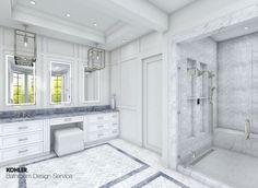 Kohler Bathroom, Big Bathrooms, Amazing Bathrooms, Small Bathroom, Master Bathroom, Classic Bathroom, Modern Bathroom, Vanity Design, Master Bath Remodel