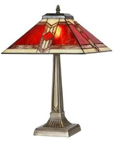 art deco table lamps | Classic 14 Inch Red and Cream Art Deco Table Lamp