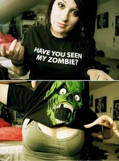 Funny pictures about Have you seen my zombie? Oh, and cool pics about Have you seen my zombie? Also, Have you seen my zombie? Gi Joe, Mardi Gras, Poorly Dressed, Zombie Shirt, Zombie Gear, Zombie Zombie, Zombie Party, Best T Shirt Designs, Cult