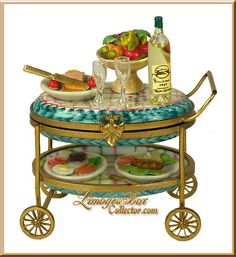 Dinner Tray Cart with Wine Limoges Box (Rochard)